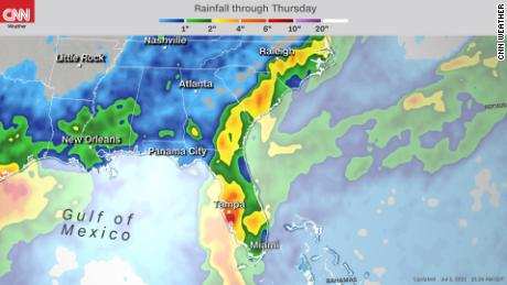 Rainfall accumulation expected from Elsa through Thursday