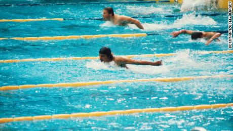 Spitz competes in the butterly at the  1972 Summer Olympics.