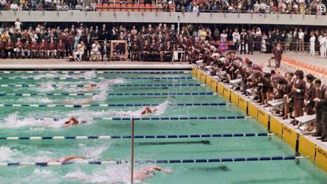 Australia's Michael Wenden swims to victory in the 100m freestyle at the 1968 Olympics in Mexico City. Spitz, in lane seven, finished third.