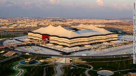 A general view Al Bayt Stadium on December 19, 2019 at Al Khor City, Qatar.