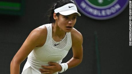 Raducanu withdrew from Wimbledon after struggling in her fourth-round match.