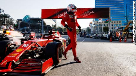 Leclerc and Ferrari celebrates in Parc Ferme during qualifying ahead of the Azerbaijan Grand Prix  on June 05, 2021 in Baku, Azerbaijan.
