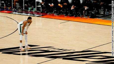 Antetokounmpo takes a moment during the game against the Suns.