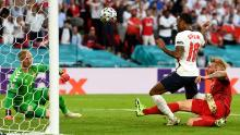 England equalised after Simon Kjaer turned the ball into his own net.