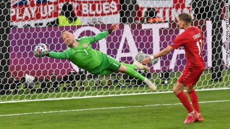 Kasper Schmeichel made some impressive saves to keep Denmark in the tie.