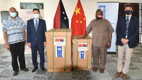 Prime Minister of Papua New Guinea, James Marape, receives 15 ventilators donated by the Chinese government in the capital Port Moresby on October 12, 2020.