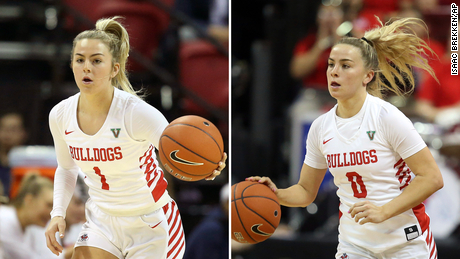 Haley Cavinder, left, and twin sister Hanna power the Fresno State Bulldogs' attack.