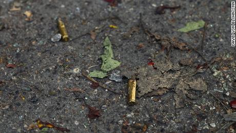 Bullet casings on the ground in the wake of President Moise's assassination in Haiti.