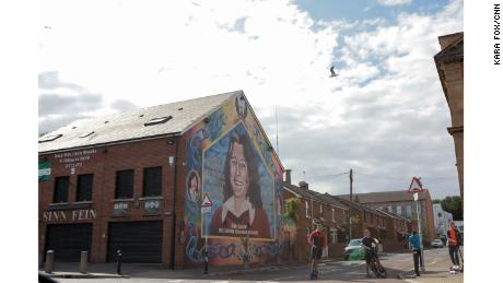A mural of the republican icon and hunger striker Bobby Sands is painted on the Sinn Féin office in west Belfast.