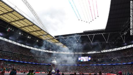 A large replica oftThe Henri Delaunay trophy is seen inside Wembley Stadium prior to the Euro 2020 final between Italy and England on July 11, 2021 in London, England.
