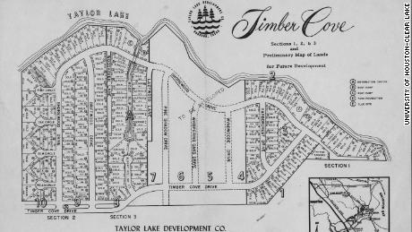 A map of the Timber Cove subdivision, which would become home to several astronaut families, including the Lovells and Glenns.