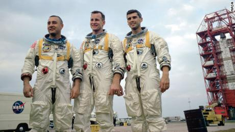 The crew of Apollo 1, pictured in January 1967. Left to right: astronauts Gus Grissom, Ed White and Roger Chaffee.
