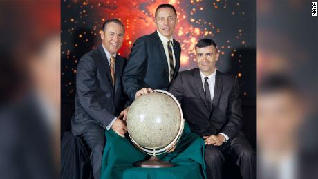 The crew of NASA's Apollo 13 mission, pictured in April 1970. Left to right: Jim Lovell, commander; John Swigert, command module pilot; and Fred Haise, lunar module pilot.