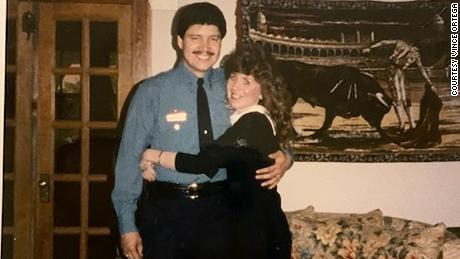 Vince Ortega, with his wife Gillian in the 1980s, was the first officer to respond and helped rush survivors to safety.