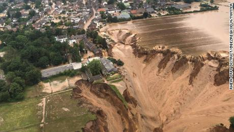 An aerial view of the flooding in Erftstadt, in Germany's North Rhine-Westphalia state on Friday.
