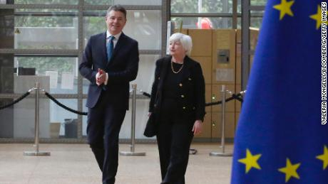Paschal Donohoe, Ireland's finance minister, and US Treasury Secretary Janet Yellen arrive at a meeting of EU finance ministers in Brussels, Belgium, on Monday, July 12.
