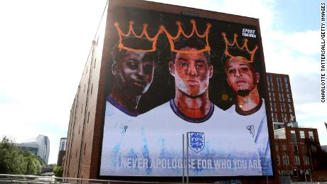 A mural in support of  Marcus Rashford, Jadon Sancho and Bukayo Saka was unveiled in Manchester in July after the Euro 2020 final.