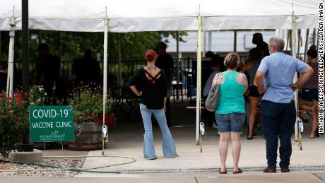 People line up for the vaccine at Mother's Brewing Company in Springfield, Missouri, on June 22, 2021.