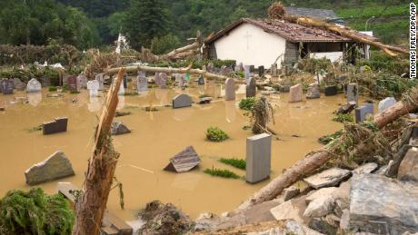 The cemetery in Altenahr was flooded on Thursday.