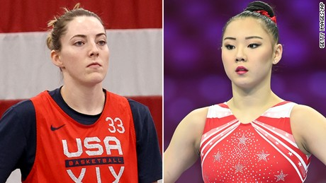 Katie Lou Samuelson, left, and Kara Eaker, both tested positive for Covid-19 days before the start of the Olympics.