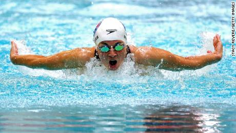 Becca Meyers competes in the US Paralympic Swimming Trials June 19 in Minneapolis.