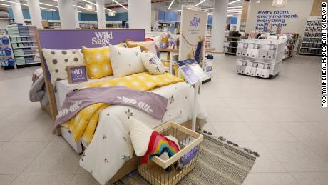 """The new bedding section at the store with Bed Bath & Beyond's private label Wild Sage brand. An executive described the old bedding area as """"dark and gloomy."""""""