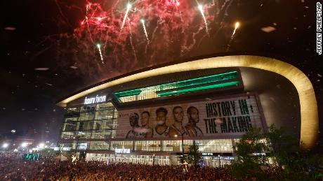Fireworks explode over Fiserv Forum after title win.