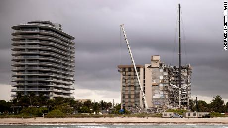 The scene of the collapse site in Surfside on June 28, 2021.