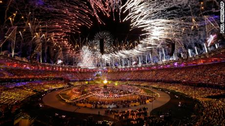The Olympic cauldron is lit during the Opening Ceremony at the 2012 Summer Olympics.