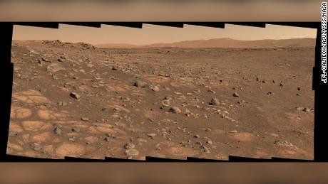 """A light-colored """"paver stone,"""" like the ones in this image, will be the likely target for first sampling by the Perseverance rover. This image was taken July 8 in the """"Cratered Floor Fractured Rough."""""""
