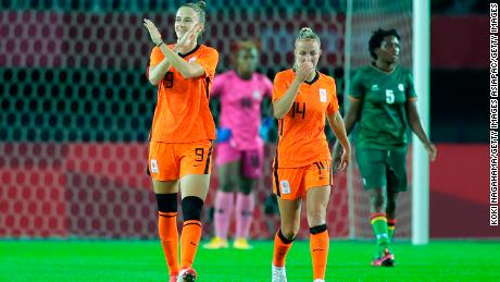 Vivianne Miedema celebrates after scoring her third goal of the game.