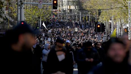 Anti-lockdown protesters demonstrate in Sydney on July 24.