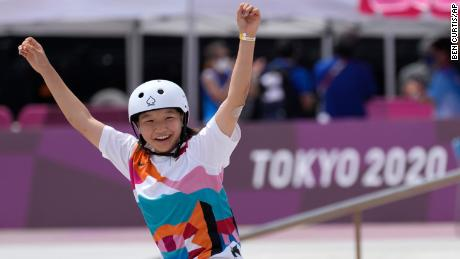 Momiji Nishiya of Japan reacts after winning the women's street skateboarding event on July 26 at the Tokyo Olympics.