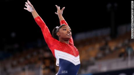 Simone Biles competes on vault during the women's team final at the 2020 Summer Olympics, in Tokyo, Japan.