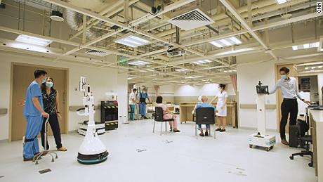 The hospital now has more than 50 robots that help out with tasks from surgery to cleaning.