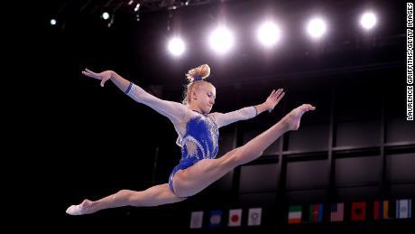Viktoriia Listunova of Team ROC competes in balance beam during the women's final.