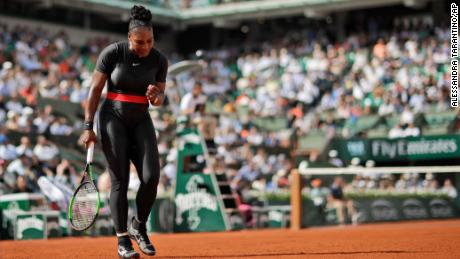 Serena Williams clenches her fist after scoring a point against Krystina Pliskova  during their first round match of the French Open at the Roland Garros stadium in Paris, France, Tuesday, May 29, 2018.