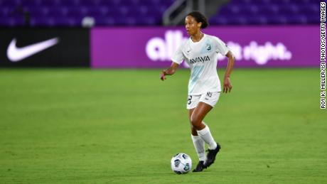Imani Dorsey #28 of the NJ/NY Gotham FC looks for options during a game between NJ/NY Gotham City FC and Orlando Pride at Exploria Stadium on April 14, 2021, in Orlando, Florida.