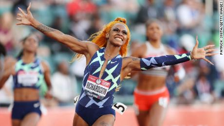 Sha'Carri Richardson celebrates winning the Women's 100-meter final on day 2 of the 2020 US Olympic Track & Field Team Trials at Hayward Field on June 19, 2021, in Eugene, Oregon.