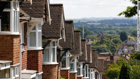 A terrace of homes on a hill in Birstall, United Kingom, on July 5, 2021.