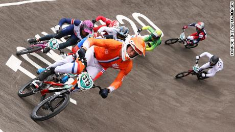 Kye Whyte of Team Great Britain, Niek Kimmann of Team Netherlands, Corben Sharrah of Team United States and Tore Navrestad of Team Norway compete during the Men's BMX semifinal heat 2, run 3 on day seven of the Tokyo 2020 Olympic Games at Ariake Urban Sports Park.