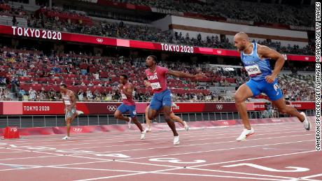 Jacobs takes victory in the men's Olympic 100m final.
