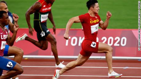 Su Bingtian of China competes in the men's 100 meter semifinal on August 1 at the Tokyo Olympics.
