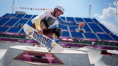 Rune Glifberg of Denmark takes part in a men's park skateboarding training session.