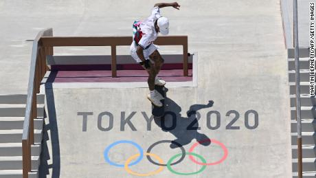 Team USA's Nyjah Huston competes in the men's street skateboarding final on July 25.