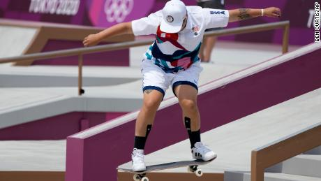 Alana Smith of Team USA competes in the women's street skateboarding final on July 26.