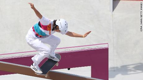 Japan's Momiji Nishiya competes at the Olympic street skateboarding preliminaries on July 26.