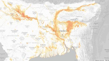 The Cloud to Street study mapped flood events and their duration around the world. Rain caused 86 days of flooding across South Asia in 2007, displacing millions of people in India, Nepal, Bhutan, Pakistan and Bangladesh, according to the Cloud to Street global flood database.