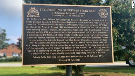 The historic marker stands near where Hall was last seen on Fort Benning.