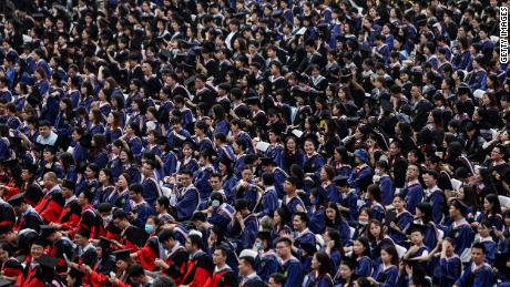 Ten thousand graduates attend their ceremony at Central China Normal University on June 13, 2021 in Wuhan, China.